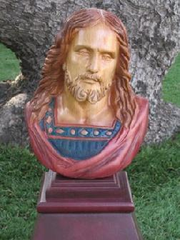 Wood Carved Jesus Bust Art Sculpture Wildlife In Wood Inc