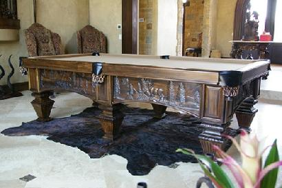 Wildlife Nature Wood Carved Pool Table