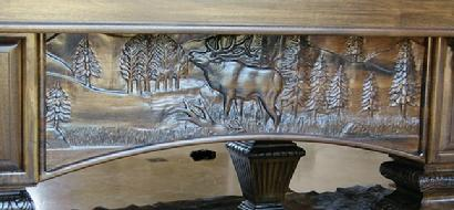 Wood Carved Elk Deer Bear Wildlife In Wood Inc